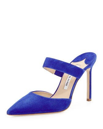 Trovina Suede Point-Toe Mule, Blue