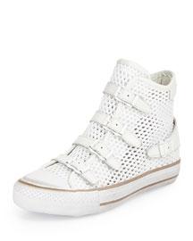 Vanessa Buckled Mesh High-Top Sneaker, White