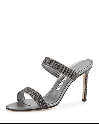 Muluca Double-Band Chain Mesh Sandal, Gray