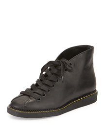 Emmanuel Leather Lace-Up Boot, Black