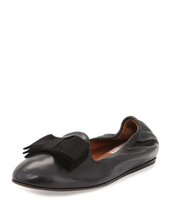 Grosgrain Bow-Detailed Leather Slipper, Black