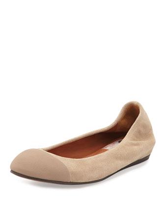 Suede Cap-Toe Ballet Flat, Beige