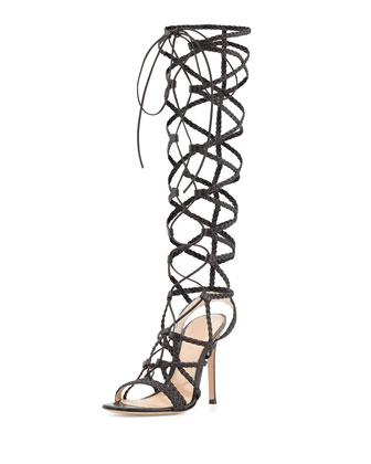 Caged Braided Leather Sandal, Black