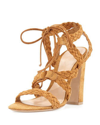 Suede Braided Lace-Up Sandal, Almond