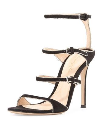 Triple-Strap Beaded Suede Sandal, Black