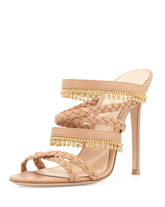 Braided Leather Sandal with Beaded Fringe, Soft Beige
