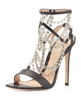 Jeweled Strappy Leather Sandal, Black