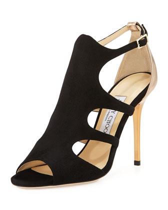 Tida Suede Cutout Sandal, Black/Tan