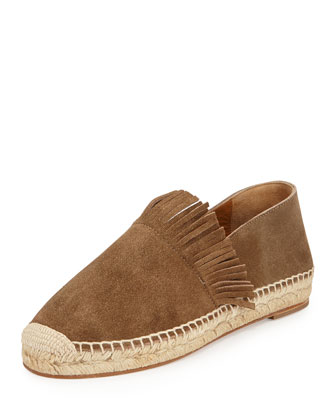 Suede Flat Espadrille Slip-On, Gray
