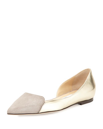 Hike Pointed-Toe Half-d'Orsay Flat, Silver
