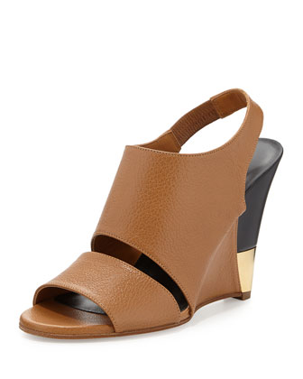 Tumbled Leather Slingback Wedge, Camel