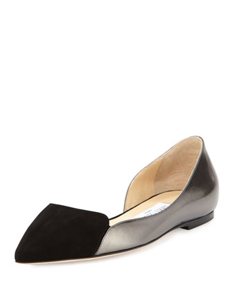 Hike Pointed-Toe Half-d'Orsay Flat, Black
