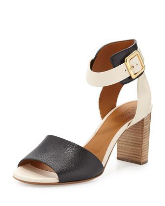 Bicolor Ankle-Cuff Sandal, Black