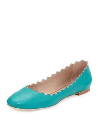 Scalloped Leather Ballerina Flat, Turquoise