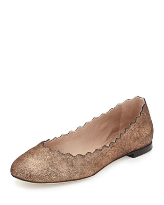 Scalloped Shimmer Suede Ballerina Flat, Pink