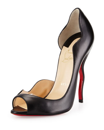 Dictata Half-d'Orsay Squiggle-Heel Red Sole Pump, Black