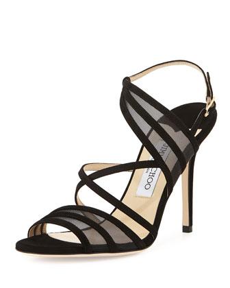 Visby Suede Crisscross Sandal, Black