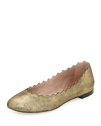 Scalloped Shimmer Suede Ballerina Flat, Gold