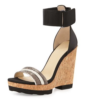 Neston Snake Wedge Sandal, Black