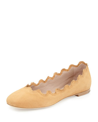 Fringe Scalloped Suede Ballerina Flat, Camel