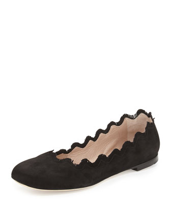 Fringe Scalloped Suede Ballerina Flat, Black