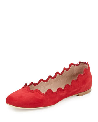 Fringe Scalloped Suede Ballerina Flat, Red