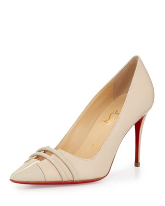 Split-Vamp Cap-Toe Red Sole Pump, Ivory