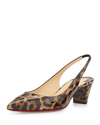 Karelli Leopard-Print Low-Heel Red Sole Slingback