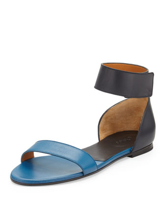 Bicolor Leather Gala Sandal, Navy