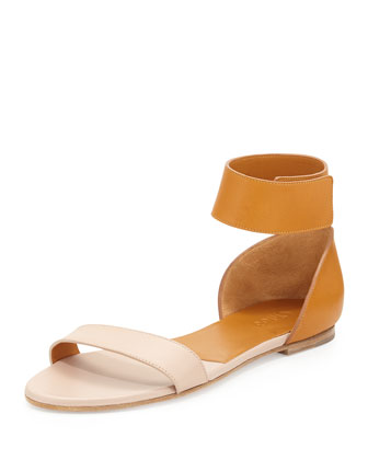Bicolor Leather Gala Sandal, Neutral