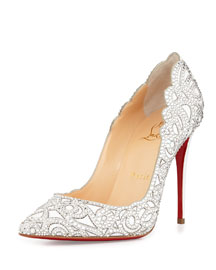 Top Vague Scalloped Crystal Red Sole Pump