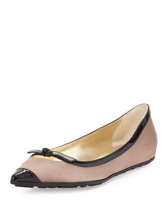 Grane Pointed-Toe Ballerina Flat, Rose