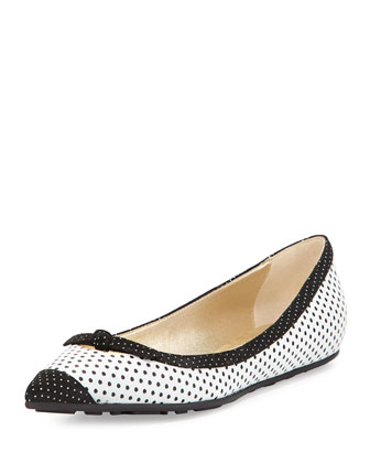 Grane Pointed-Toe Ballerina Flat, White
