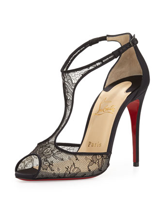 Tiny Chantilly Lace T-Strap Red Sole Sandal, Black