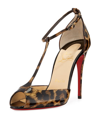 Senora Patent Leopard-Print T-Strap Red Sole Sandal