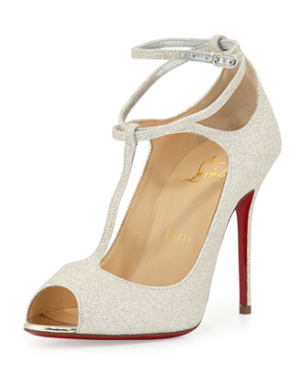 Talitha Glitter Ankle-Wrap Red Sole Sandal