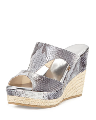 Pacane Snake-Print Wedge Slide, Gray