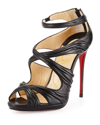 Kashou Pleated Crisscross Red Sole Sandal, Black
