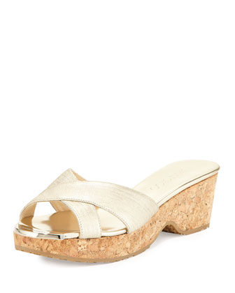 Panna Crisscross Slide Sandal, Champagne