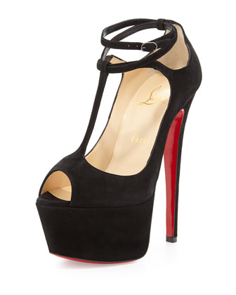 Talitha Suede T-Strap Red Sole Sandal, Black
