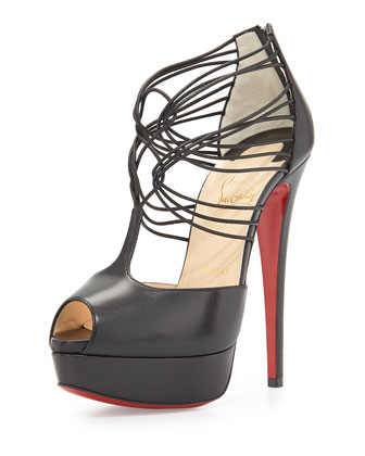 Confusalta Strappy Platform Red Sole Sandal, Black