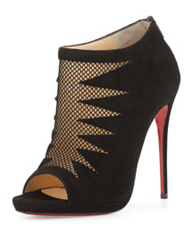 Disorder Cutout Suede Red Sole Bootie, Black