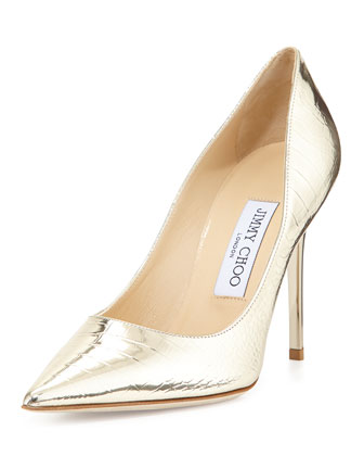 Abel Croc-Print Metallic Pump, Light Gold