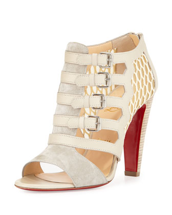 Trotti Multi-Buckle Red Sole Bootie, Tan