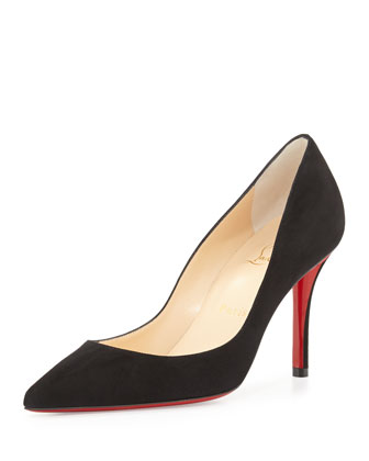 Apostrophe Suede Point-Toe Red Sole Pump, Black