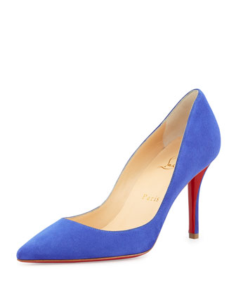 Apostrophe Suede Point-Toe Red Sole Pump, Purple