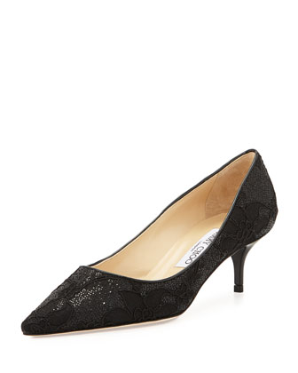 Aza Glitter Lace Kitten-Heel Pump, Black
