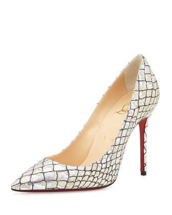 Decollete Snake-Embossed Metallic Point-Toe Pump, Silver