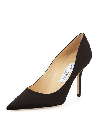 Agnes Pointed-Toe Satin Pump, Black