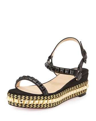 Cataclou Zigzag Braided Studded Platform Red Sole Espadrille